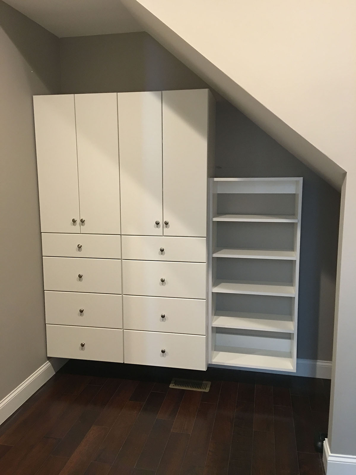 custom angled closet drawers