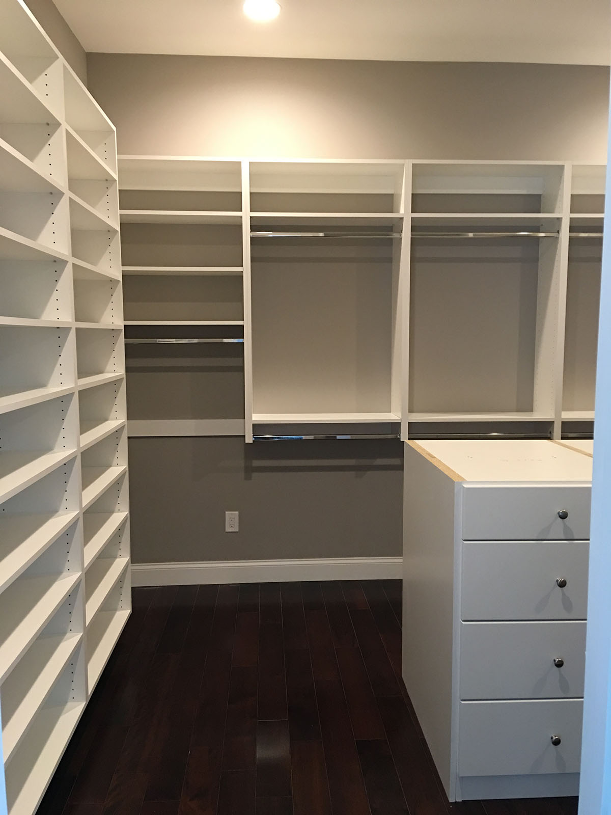 large custom closet shelves