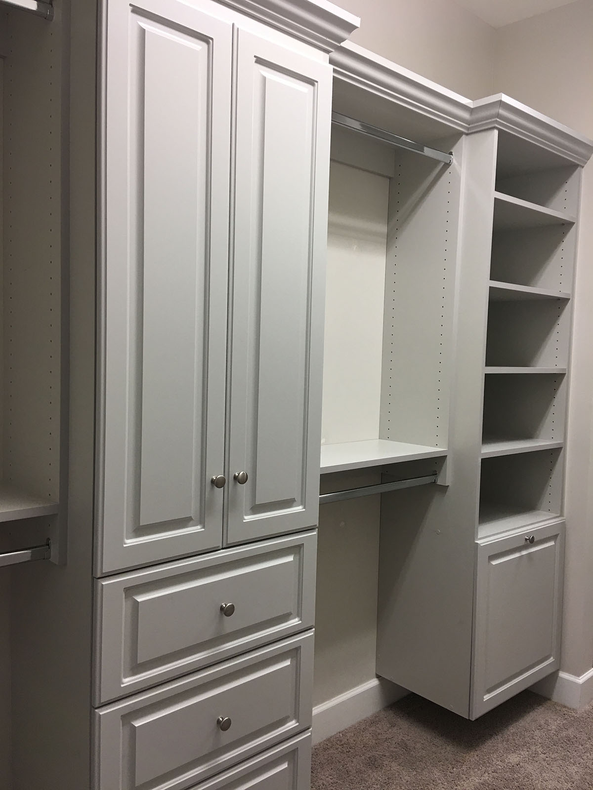 custom closet in gray