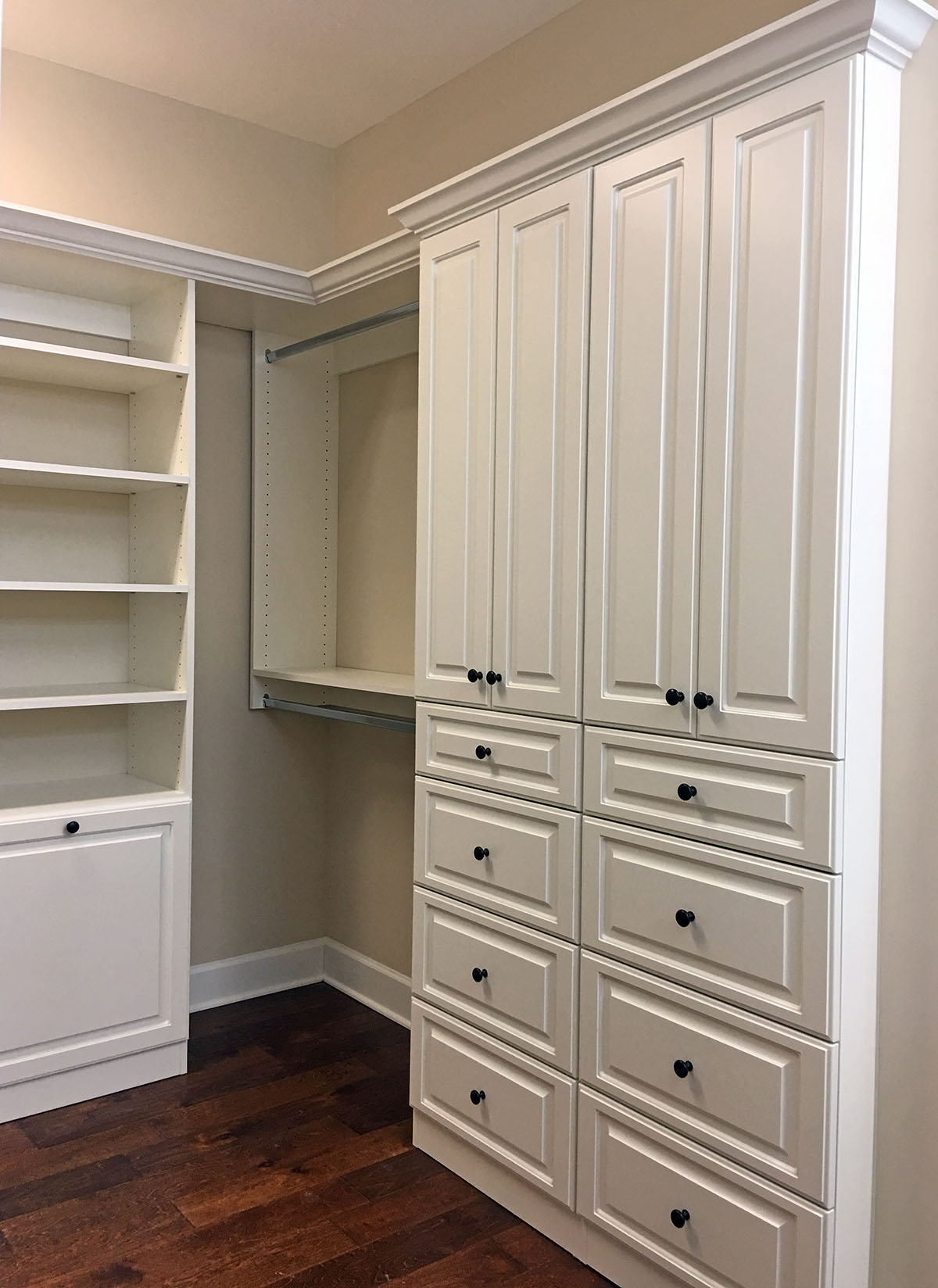 custom closet with cabinets