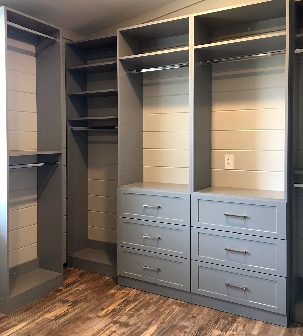 custom closet with gray drawers