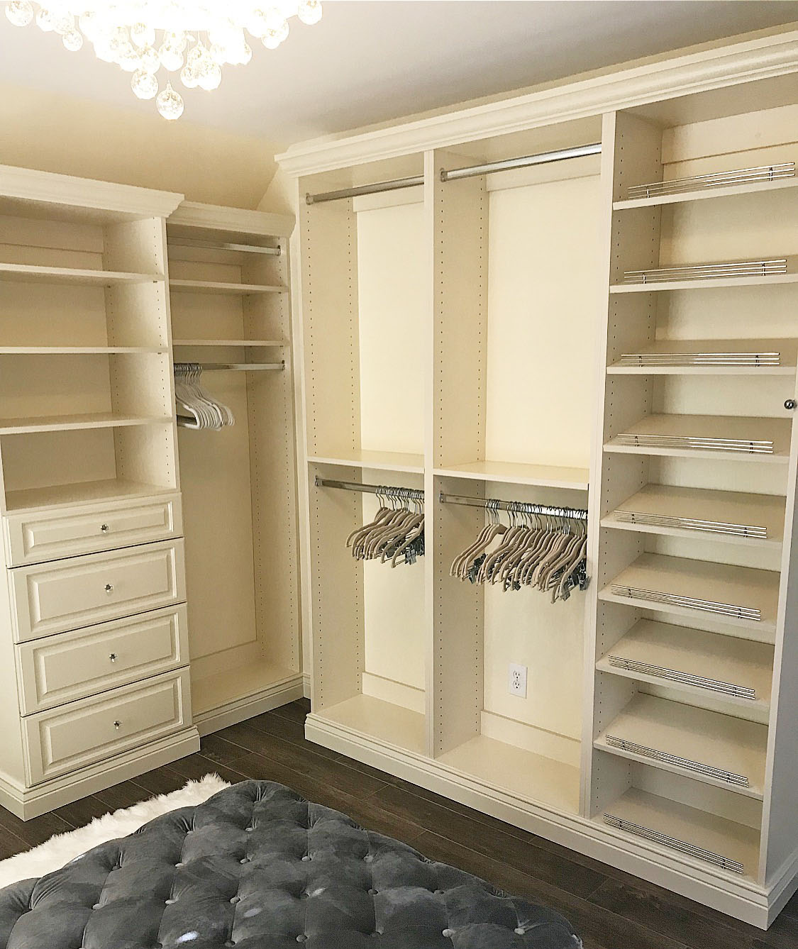 custom closet with seating