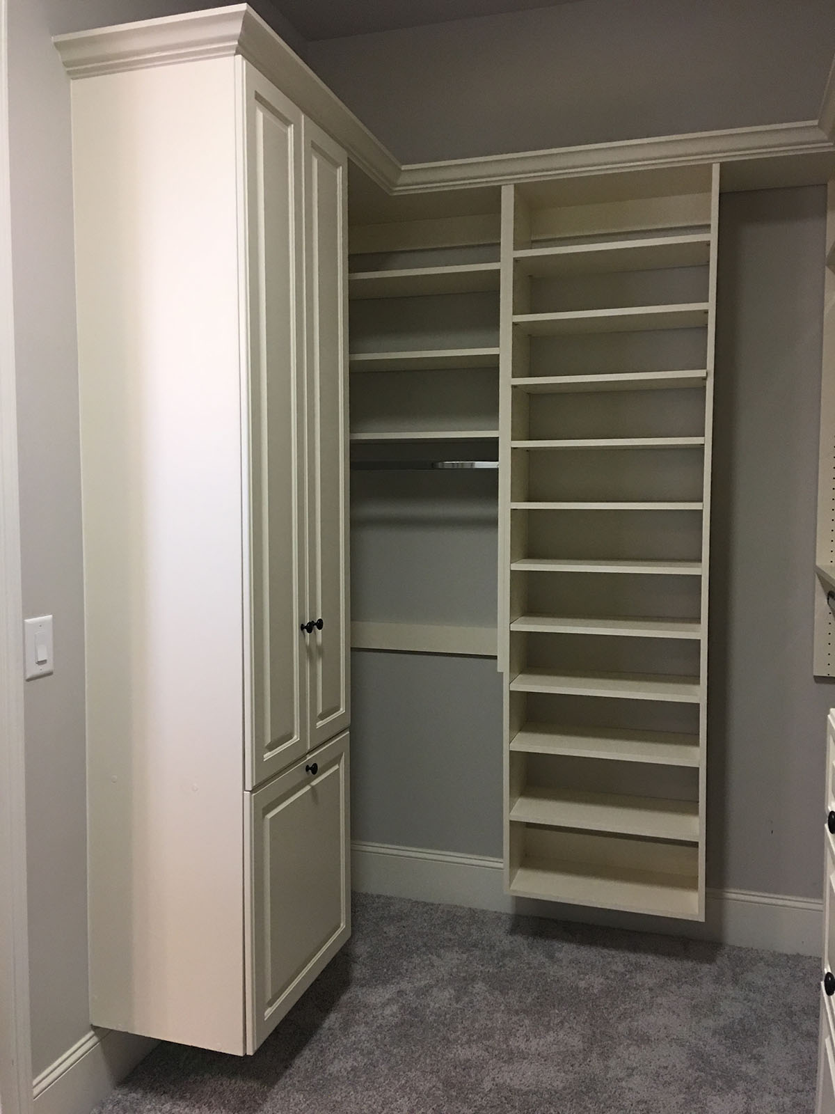 custom closet with shelves